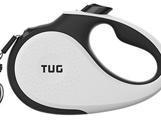 TUG 360 Tangle Free  Heavy Duty Retractable Dog leash for Up to 55 lb Dogs  16 ft Strong Nylon Tape Ribbon  One Handed Brake  Pause  lock  Medium  White