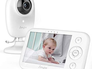 Simyke Video Baby Monitor with Camera and Audio 3 5  lCD Digital Display with long Range Night Vision Temperature Monitoring VOX Auto lullaby Function for Elderly 700ft 1200mAh Battery Capacity