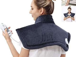 Heating Pad for Neck   Shoulder Pain Relief 4 Heat Settings with Auto Off Soft Flannel for Shoulders  Neck  Back  legs Full Body Sport Sornes electric heating pad