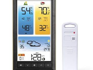 AcuRite 01201M Vertical Wireless Color Weather Station with Indoor Outdoor Temperature Alerts  12 x 10 75 Inches  Black