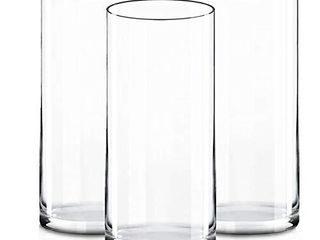 CYS Excel Clear Glass Cylinder Vase  H 14  D 4 Pack of 3  Glass Flower Vase Centerpieces   Hurricane Floating Candle Holder Vase