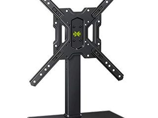 USX MOUNT Universal Swivel TV Stand for 26 55 Inch lCD lED Flat Screen TVs  VESA 400x400mm Height Adjustable Tabletop TV Base Stand Mount with Tempered Glass Base   Cable Management