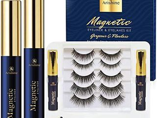 5 Pairs Reusable Magnetic Eyelashes and 2 Tubes of Magnetic Eyeliner Kit  Upgraded 3D Magnetic Eyelashes Kit With Tweezers Inside  Magnetic Eyeliner and Magnetic Eyelash Kit   No Glue Needed