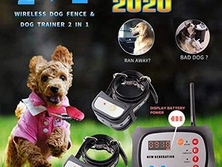 JUSTPET Wireless Dog Fence   Training Dog Collar 2 in 1 System  Remote Wireless Fence Adjustable Control Range  Waterproof Reflective Stripe Collar  for 2 Dog