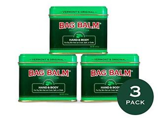 Vermont s Original Bag Balm for Dry Chapped Skin Conditions  8 Ounce Tin  3 Pack