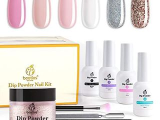 Beetles Dip Powder Nail Starter Kit 6 Colors Clear Pink French Tips Kit  Glitter White Acrylic Dipping Powder Starter Nail Kit for French Nail Manicure Nail Art Set Essential Kit No UV lED lamp Needed