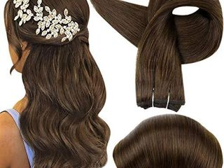 Full Shine 24 Inch Straight Hair Weft Extensions Solid Color 4 Medium Brown Double Wefted Hair Extensions Sew In Hair Bundles Remy Human Hair 100 Gram Per Package
