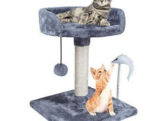 67i Cat Tree Cat Tower with Natural Sisal Scratching Posts Cat Activity Platform Furniture with Hanging Ball and Spring Plush Mouse Toys for Kitten Small Cats Climb Relax Play  Grey