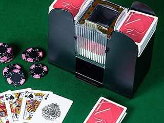 Playing Card Shuffler  Automatic Battery Operated 6 Deck Casino Dealer Travel Machine Dispenser by Trademark Poker  Black