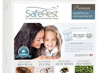 SafeRest Premium Zippered Mattress Encasement   Waterproof   Hypoallergenic  Breathable  Noiseless and Vinyl Free  Fits 9   12 in  H    Queen Size