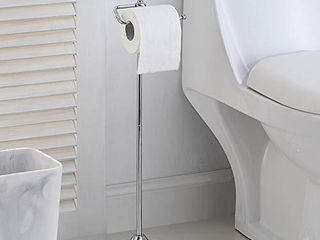 SunnyPoint Bathroom Free Standing Toilet Tissue Paper Roll Holder Stand with Reserve Function  Chrome Finish