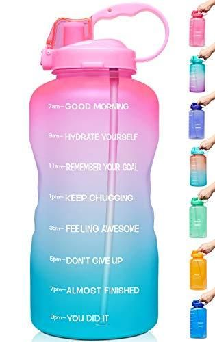 Venture Pal large 1 Gallon 128 OZ  When Full  Motivational BPA Free leakproof Water Bottle with Straw   Time Marker Perfect for Fitness Gym Camping Outdoor Sports light Pink Green Gradient