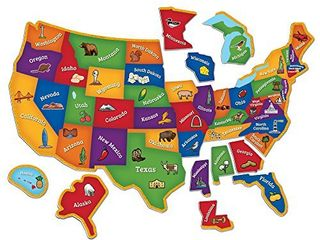 learning Resources Magnetic U S  Map Puzzle  Geography and Fine Motor Skills  Puzzle  44 Pieces  Ages 3