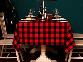 Amidaky Rectangle Tablecloth Cotton Buffalo Check Plaid Black and Red Christmas Checkered Table Cloth for Family Xmas Party Daily Use 55x102 inch