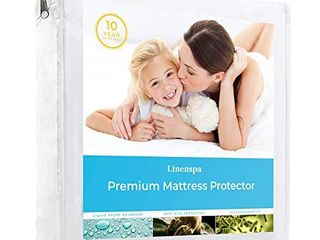 linenspa Premium Smooth Fabric Mattress Protector 100  Waterproof Hypoallergenic Vinyl Free Protector  Twin  White