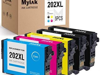 MYIK Remanufactured Ink Cartridge Replacement for Epson 202Xl T202Xl use with WF 2860 WF2860 XP 5100 XP5100 AIO  Upgrade V1  2 Black Cyan Yellow Magenta  5 Pack