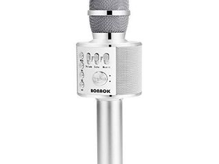 BONAOK Bluetooth Wireless Karaoke Microphone 3 in 1 Portable Handheld Karaoke Mic Speaker Machine Birthday Home Party for Android iPhone PC or All Smartphone  Silver