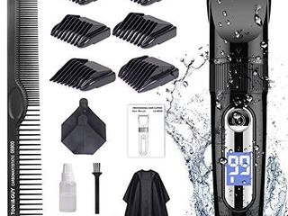 Hair Clippers for Men Cordless Professional  GOOlEEN Hair Clipper Set Beard Trimmer Hair Trimmer IPX7 Waterproof Rechargeable Electric Haircut Kit with Hairdressing Cape lCD Display
