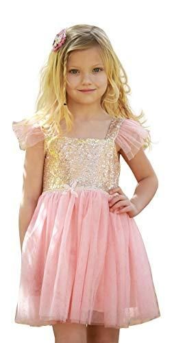 Birthday Dress for little Girls Princess Ballerina Party  Pink Gold  2 Yrs