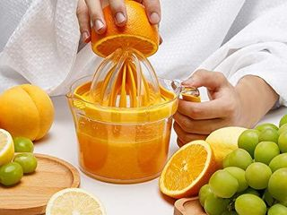 Manual Hand Squeezer Citrus Squeezer With Built in Measuring Cup and Grater and Egg separator  4 in 1 Manual Fruit Juicer  20 oz