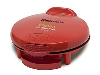 Elite Gourmet Mexican Taco Tuesday Quesadilla Maker  Easy Slice 6 Wedge  Grilled Cheese  11 Inch  Red