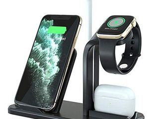 Wireless Charger  3 in 1 Fast Charging Station Compatible for iPhone 12 12 mini 11 Pro XR X Xs Xs Max 8 8 Plus  Wireless Charging Dock Stand for Apple Watch SE 6 5 4 3 2 1  Airpods Pro 2