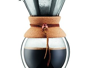 BODUM Pour Over Coffee Maker Grip  8 Cup  34 Ounce  Double Wall Cork
