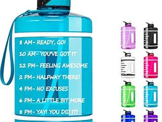 Fimibuke 64 oz Half Gallon Motivational Water Bottle with Time Marker   Straw   BPA Free   leakproof Plastic 2l Water Bottle Portable 1 2 Gallon Big Water Jug for Office Workout Outdoor Sport