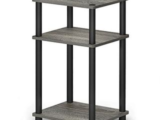 FURINNO Just 3 Tier End Table  1 Pack  French Oak Grey Black
