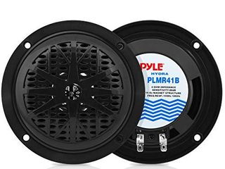 4 Inch Dual Marine Speakers   Waterproof and Weather Resistant Outdoor Audio Stereo Sound System with Polypropylene Cone  Cloth Surround and low Profile Design   1 Pair   PlMR41W  Black