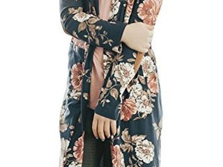 Girls Floral Kimono Cardigan long Sleeve loose Chiffon Cover up Blouse Navy Blue Size 7 8 T