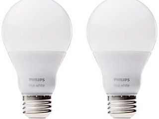 Philips Hue White A19 2 Pack 60W Equivalent Dimmable lED Smart Bulbs  Hue Hub Required  Works with Alexa  HomeKit   Google Assistant