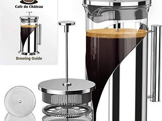 Cafe Du Chateau French Press Coffee Maker  34 oz    4 level Filtration System   Heat Resistant Borosilicate Glass  Stainless Steel