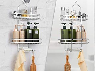 Auledio 3 Tier Shower Caddy  Adjustable Bathroom Hanging Shower Organizer Storage with Sorters Basket and Hooks   Fits Shampoo  Conditioner  Towels   Soap and More