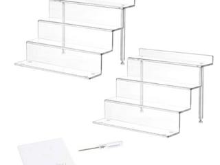 NUBEE 3 Step Acrylic Riser For Display  9x6  3Pack