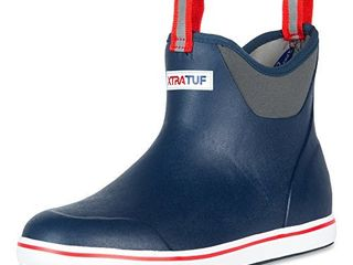 XTRATUF Performance Series 6  Men s Full Rubber Ankle Deck Boots  Navy   Red  22733  12