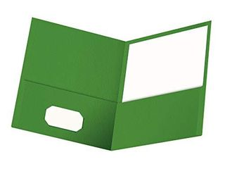 Oxford Twin Pocket Folders  Textured Paper  letter Size  Green  Holds 100 Sheets  Box of 25  57503EE
