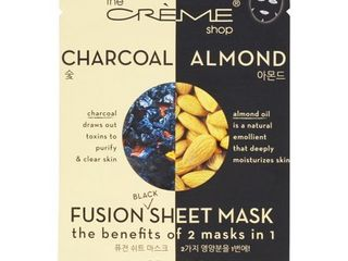 The Creme Shop   2 in 1 Fusion Black Face Sheet Mask Charcoal   Almond   1 Count
