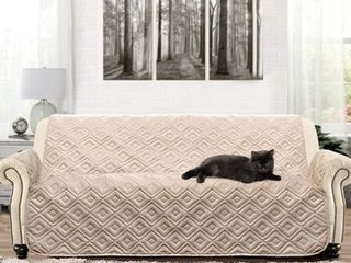DriftAway Anson Water Resistant Quilted Furniture Protector Cover Couch Slipcover Perfect for Dogs Kids Pets Soft Sofa Beige