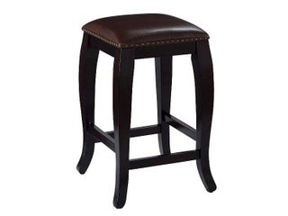 24 inch San Francisco Square Counter Height Barstool Hardwood Brown   linon
