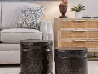 Preston Set of 2 Bronze Outdoor Stools  Retail 102 49