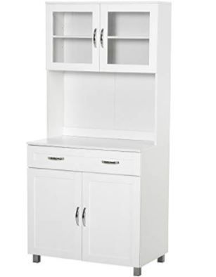 HOMCOM Modern Kitchen Pantry with Buffet Cabinet  Cupboard with Framed Glass Doors and Shelves  White  Retail 356 49