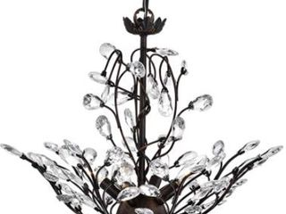 Holly 4 light Antique Copper Crystal leaves Semi Flush Mount  Retail 129 99