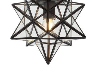 12 inch Stella Moravian Star Metal Glass lED Flush Mount Black   JONATHAN Y