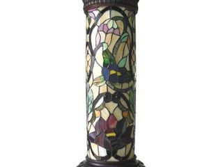 CHlOE lighting ROSEllE Tiffany glass 2 light Floral Pedestal light Fixture 30  Tall