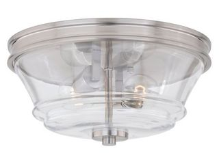 Toledo 13 in W Satin Nickel Industrial Flush Mount Ceiling light Fixture Clear Glass   Retail 162 00
