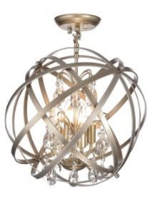 Benita Brushed Champagne 4 light Metal Globe Crystal Semi Flush Mount  Retail 153 49