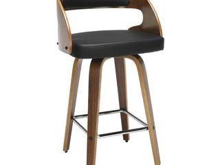 Collection Mid Century Modern low Back Bentwood Frame Swivel Seat Stool with Vinyl Back and Seat Cushion  Retail 183 99