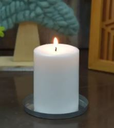 4x6 Inch White Pillar Candle  Set Of 3