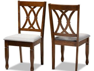 2pc Augustine Fabric Upholstered Dining Chair Set Gray Walnut Brown   Baxton Studio